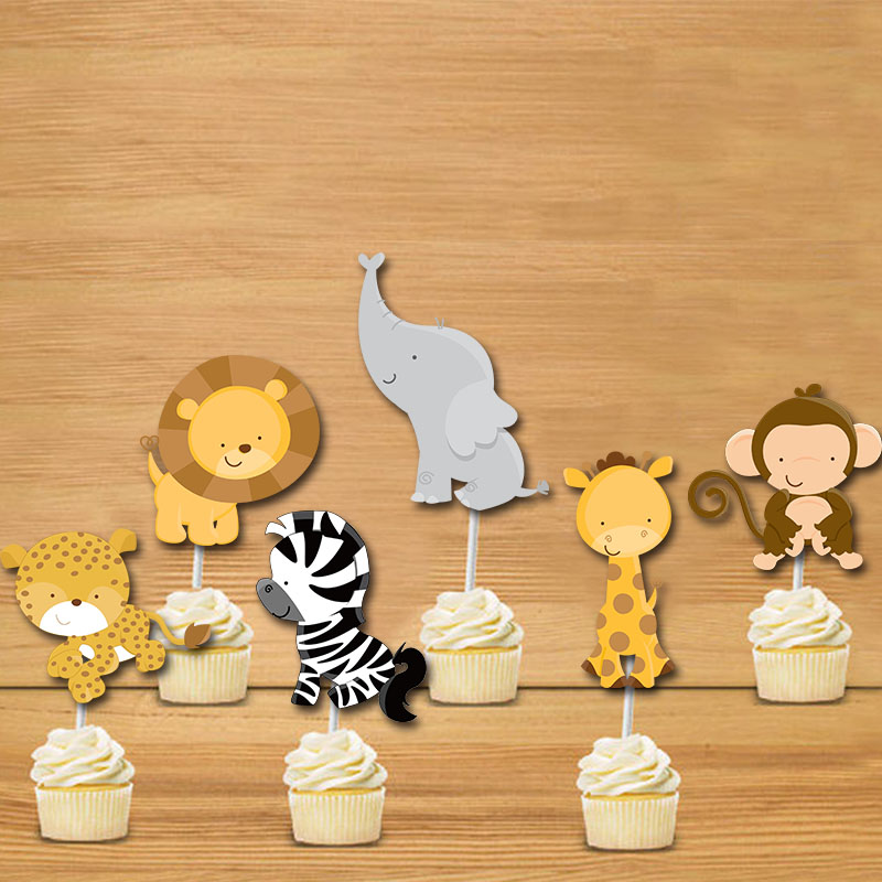 Jungle babies cupcake toppers birthday party