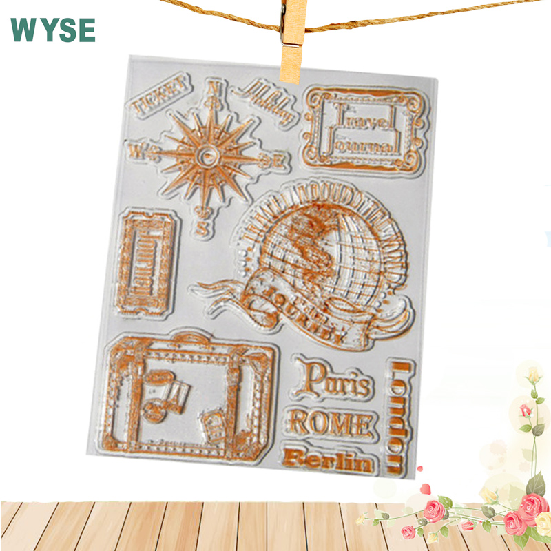 14*18cm globe world Travel journey compass Transparent clear stamp silicone rubber stamp ...