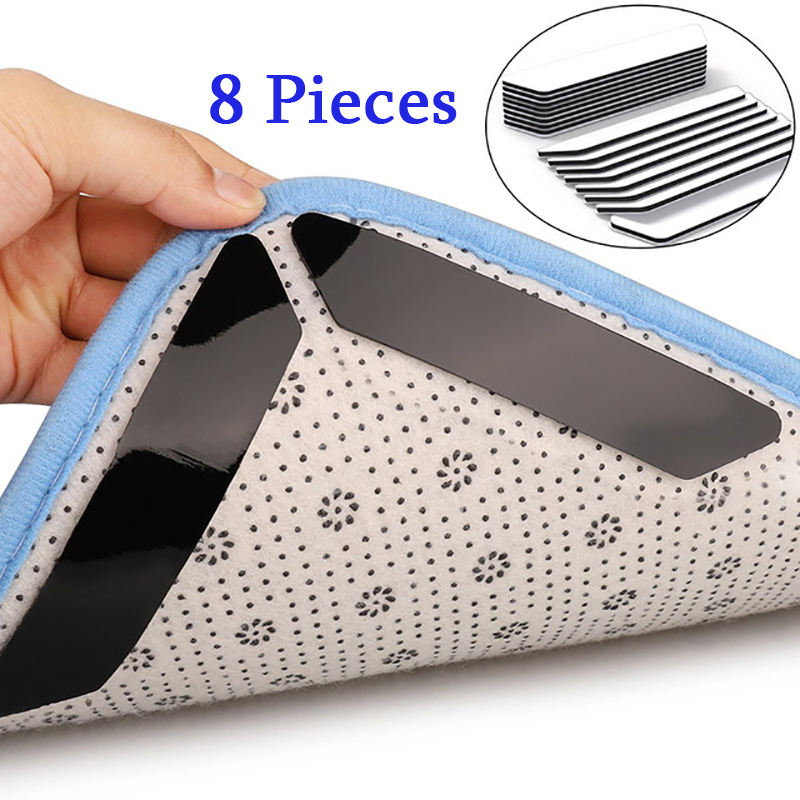 Carpet Mats Fixed Anti-Slip Stickers Black White Removable Easy Clean 8 Pieces/Lot