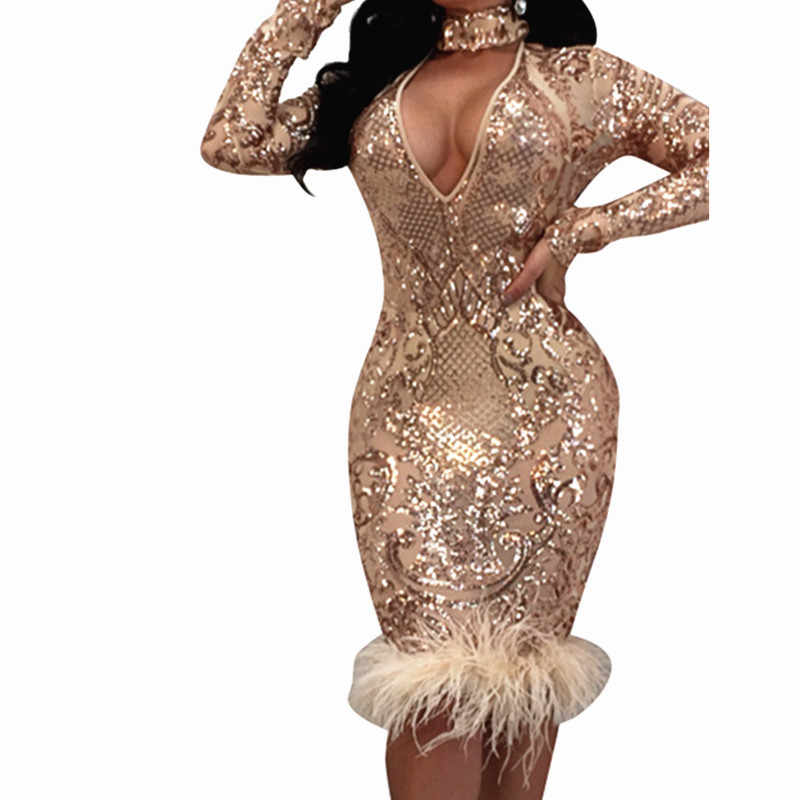 2019 Sexy Women Deep V Neck Sequined Choker Bodycon Dress Autumn Popular Long  Sleeve Feather Patchwork 95b826562865