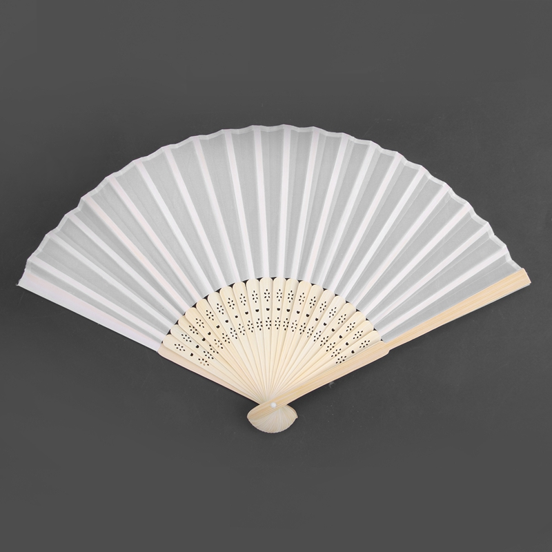 65pcs Elegant White Folding Silk Hand Fan with Organza Gift bag Wedding Gift Party Favors white