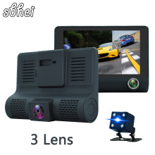 Best price 4.0″ Car DVR Camera Dual Lens with Rear view Registrar three camera Night vision car dvrs Video dashcam Camcorder