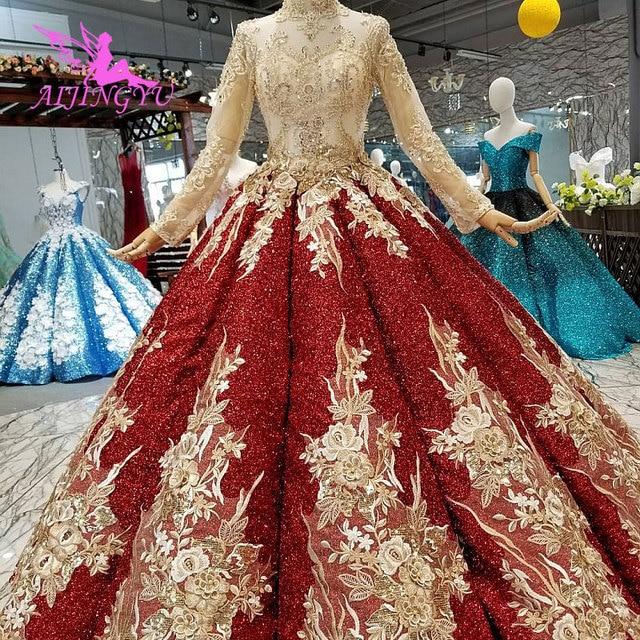 Aijingyu Trouwjurken 2021 2020 Plus Size Online Jassen Met Prijs Lace Sexy Portugees Gown Lange Koord Kant Voor Bruiloft jurk
