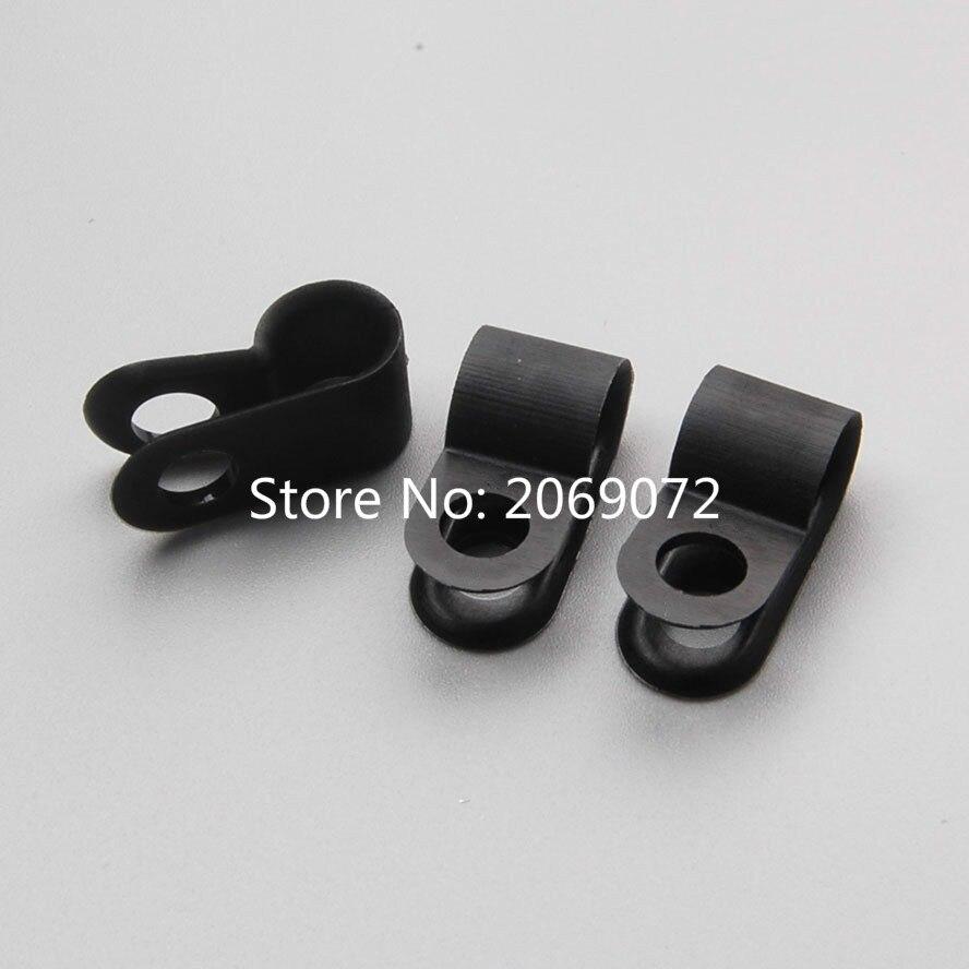 100PCS Nylon Black Wire Cable Hose P Type Clamp Clips Clip C R 6.4mm ...