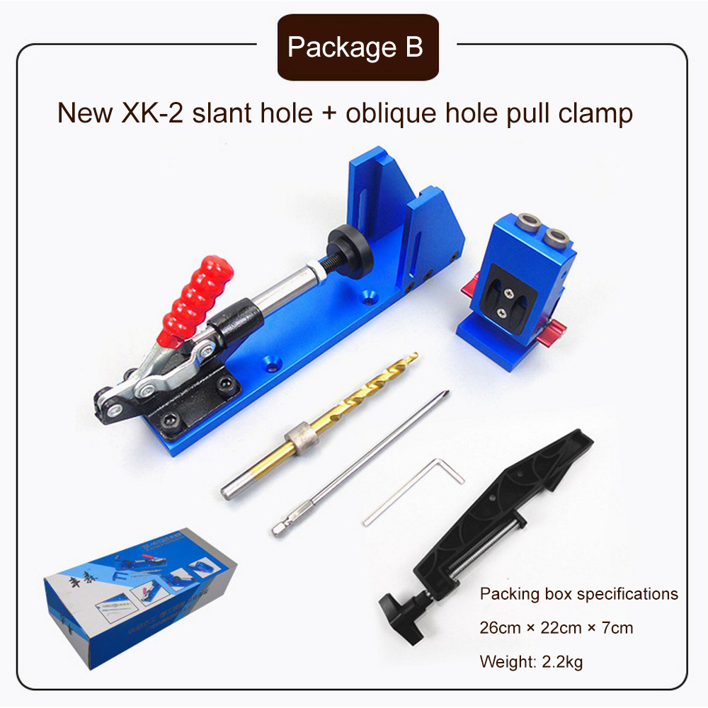 XK-2 DIY Woodworking Puncher Hole Drill Punch Positioner Guide Locator Jig Joinery System Kit Repair Fixture Wood Working Tool