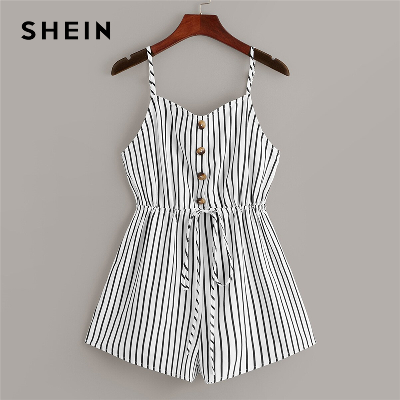 SHEIN Black and White Half Placket Drawstring Waist Striped Cami   Romper   Women Summer Casual   Rompers   Womens Jumpsuit Playsuit