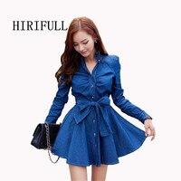 New Dress 2015 Long Sleeve Denim Blue Sweety Bow Mini Sexy Dress High Quality Cowboys Dresses