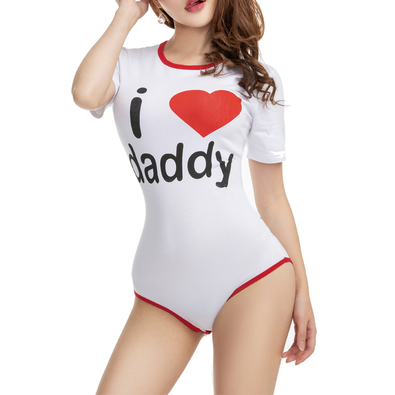 DDLG Women Onesie Adult Baby Pajamas Abdl Romper Snap Crotch For ABDL,diaper Lover And Sissy Adult Baby Girl Onesie I Love Dady