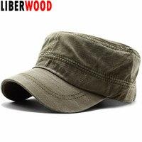 0bea5e3222f LIBERWOOD Solid Brim Flat Top Cap Cadet Army Cap Washed Corps Hat Peaked Cap  for Men