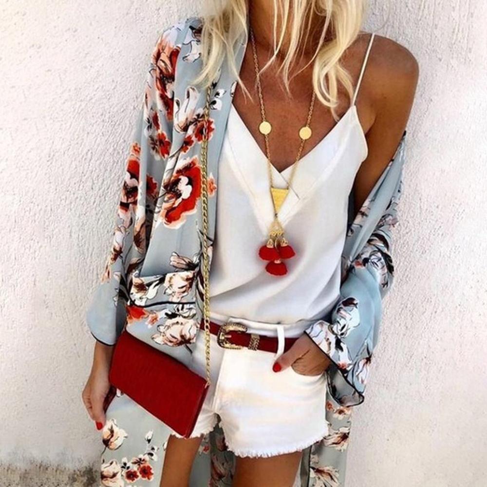 2019 Long Kimono Mujer Women's Blouse Fashion Boho Print Sunscreen Sheer Loose Summer Cardigan Beachwear Cover Up Blusas Mujer