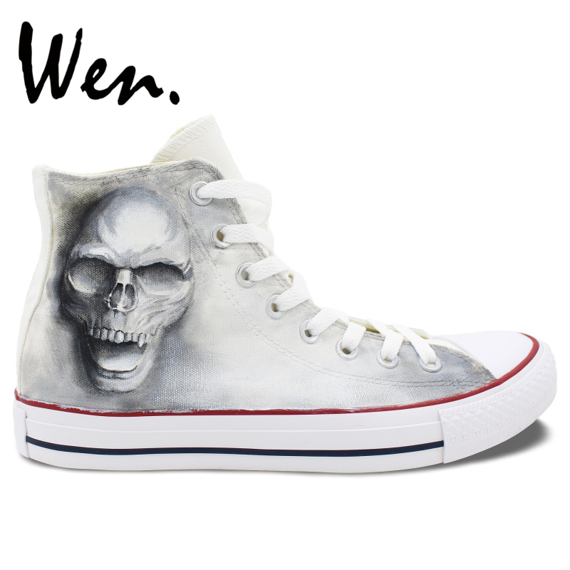 Wen Hand Painted Shoes Design Custom Skull Zombie Men Women's High Top Canvas Sneakers for Christmas Gifts wen original hand painted canvas shoes space galaxy tardis doctor who man woman s high top canvas sneakers girls boys gifts
