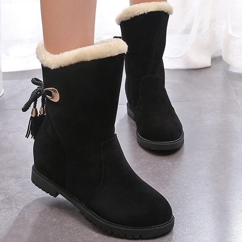 Winter Women Warm Fur Martin Boots Fashion Girls Ankle Snow Boots Anti Slip Ladies Plush Insole Shoes For Woman Botas Mujer women boots female down non slip non slip water winter boots fringe ankle snow boots ladies shoes woman warm fur botas mujer