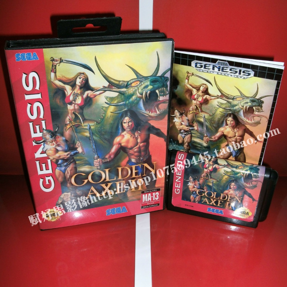Golden Axe 2 Game cartridge with Box and Manual 16 bit MD card for Sega Mega Drive for Genesis