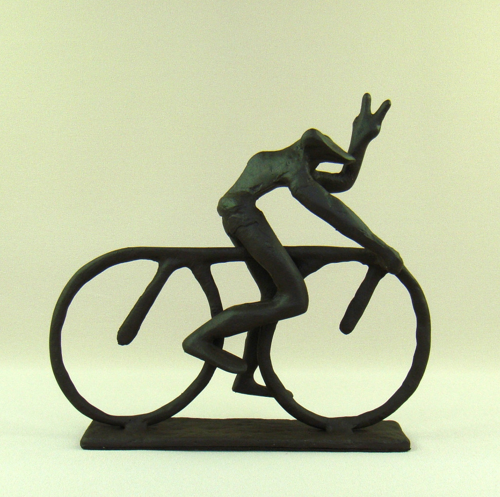 Abstract Cast Iron Bike Riding Frog Statue Handmade Metal Cyclist ...