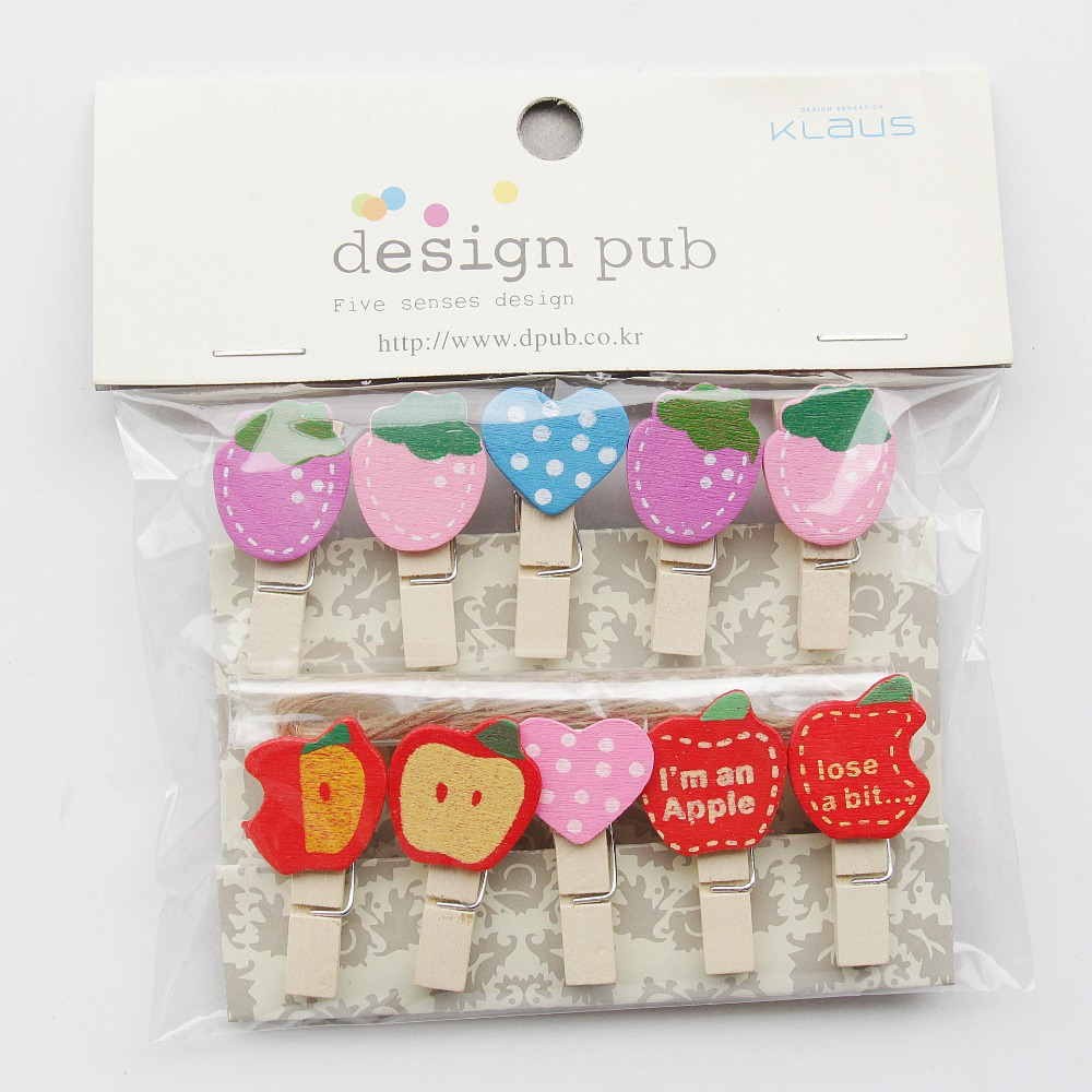 10 Pcs/Lot Strawberry Apple Series Wooden Clip Photo Paper Clothespin Craft Clips Party Decoration Clip With Hemp Rope