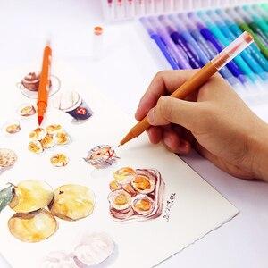 Image 4 - 100 шт. Цветная кисть для тонкого лайнера, кисть с двойным наконечником, ручки для рисования маркером, акварельные ручки для рисования манги, искусство