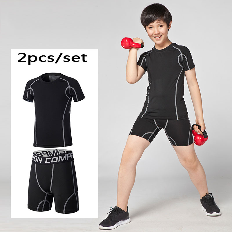 Sports & Entertainment Children Compression Base Layer Running Shorts Shirts Sets Soccer Basketball Tennis T Shirts Tights Sports Football Shorts Gym F Running Sets