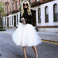 6 Layers Women Chiffon Pleated Tulle Skirt White Faldas High Waist Saia Midi Skirt Plus Size Saias Jupe Female Tutu Skirts C2265