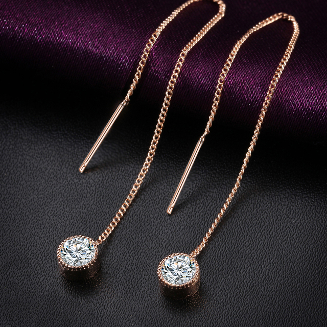 Luxury Long Drop Earrings with Crystals