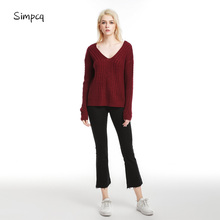Pullover Jumper Woman Knitted Sweater Spring Warm Sexy Female Criss-cross Six Colors Hundreds Of Style Casual Clothing criss cross front sweater