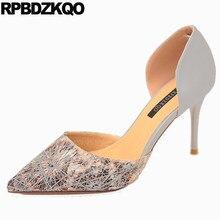 Dress Women Fashion 2017 Summer Shoes Pointed Toe Pumps Scarpin Evening High  Heels D orsay Size 4 34 Gray Sandals New Summer 165eca0ec820