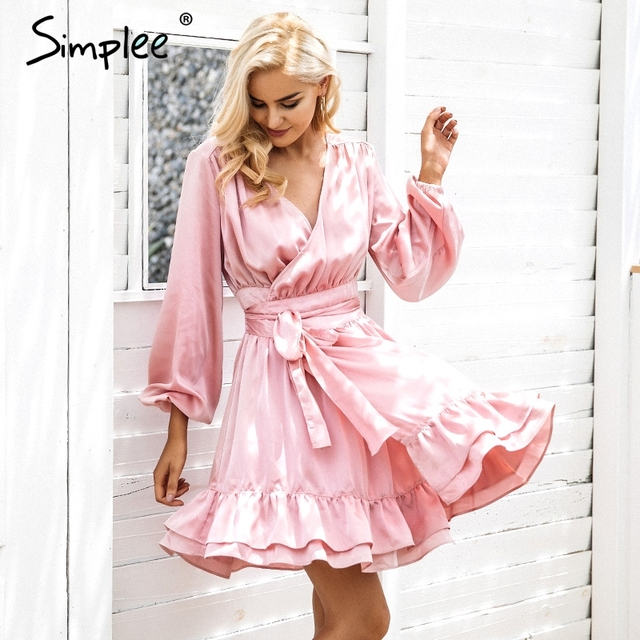 Simplee Satin deep v neck ruffle wrap dress Women bow belt lantern sleeve  pink sexy dress 14a0c9860