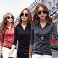 Camisa preta de T Mulheres Novo 2016 Outono Moda Casual Fino T camisas Camisetas de Algodão Abiti Donna Poleras Mujer Plus Size Roupas XXL