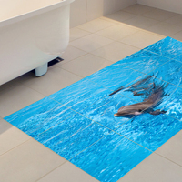 Dolphin 3D Floor Stickers Removable Waterproof Non slip Home Decor Decal DIY Wall Stickers Bathroom Living Room Bedroom 60x120cm