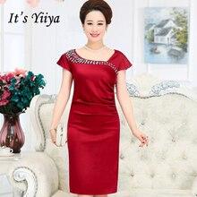 It's Yiiya Mother of the Bride Dresses Plus Size Summer Short Sleeve Crystal Fashion Designer Elegant Mother Dress M040