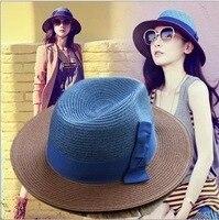 Plaża Duże Rondo Jazz Kapelusz Słońce czapki Przeszycia kolor łuk Lato na co dzień dziewczyny Kobiety Mężczyźni Cap kapelusze słomkowe Kapelusze Słomy Papieru kobiet