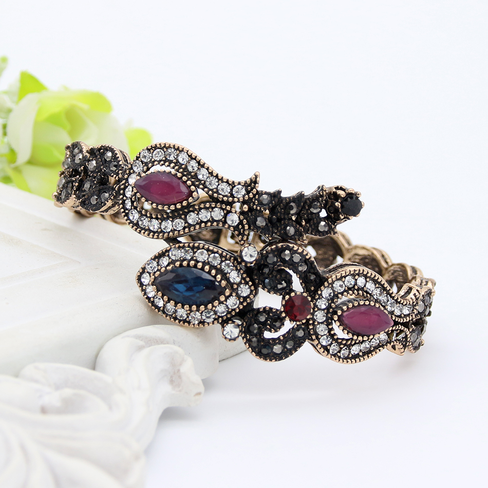 Turki Vintage Tulip Bunga Adjustable Bangle Manset Warna Emas Antik - Perhiasan fashion - Foto 3