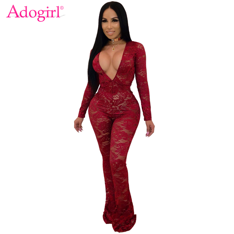 Adogirl Long Sleeve Floral Lace Jumpsuit Women Sexy Deep V Neck Flare Pants Romper Night Club Party Overalls Female Outfits
