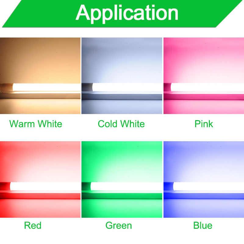 Tubo LED T8 soporte de accesorios 10w 60cm 2 pies 220v lámpara fluorescente tubo blanco frío cálido rojo azul 600mm T8 tubo de iluminación