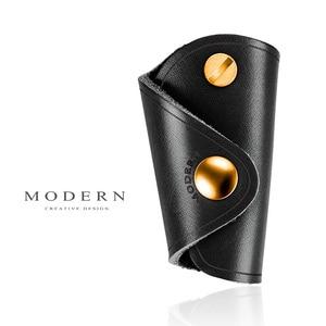 Image 3 - Carteira inteligente de couro legítimo, moderna, 100%, diy, chaveiro, edc, mini, bolso, suporte para chaves, organizador de chave
