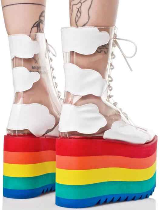 ... Newest Rainbow Candy Colors Thick Platform Socks Boots Shoes Clear PVC  Transparent Lace-up Cloud ...