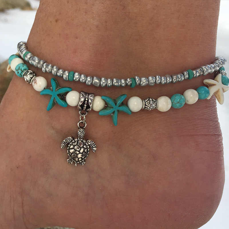 ลูกปัดเปลือกหอยปลาดาว Sea Turtle Anklets สำหรับผู้หญิงใหม่หลายชั้นข้อเท้าขาสร้อยข้อมือ Handmade Bohemian เครื่องประดับ drop shipping