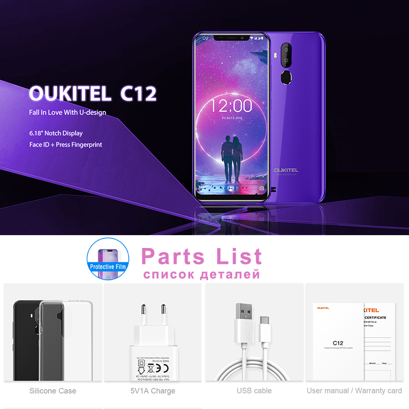 """Image 4 - OUKITEL C12 6.18"""" Android 8.1 Mobile Phone MT6580 Quad Core 2G RAM 16G ROM Fingerprint 3G 3300mAh Smartphone Face ID-in Cellphones from Cellphones & Telecommunications"""
