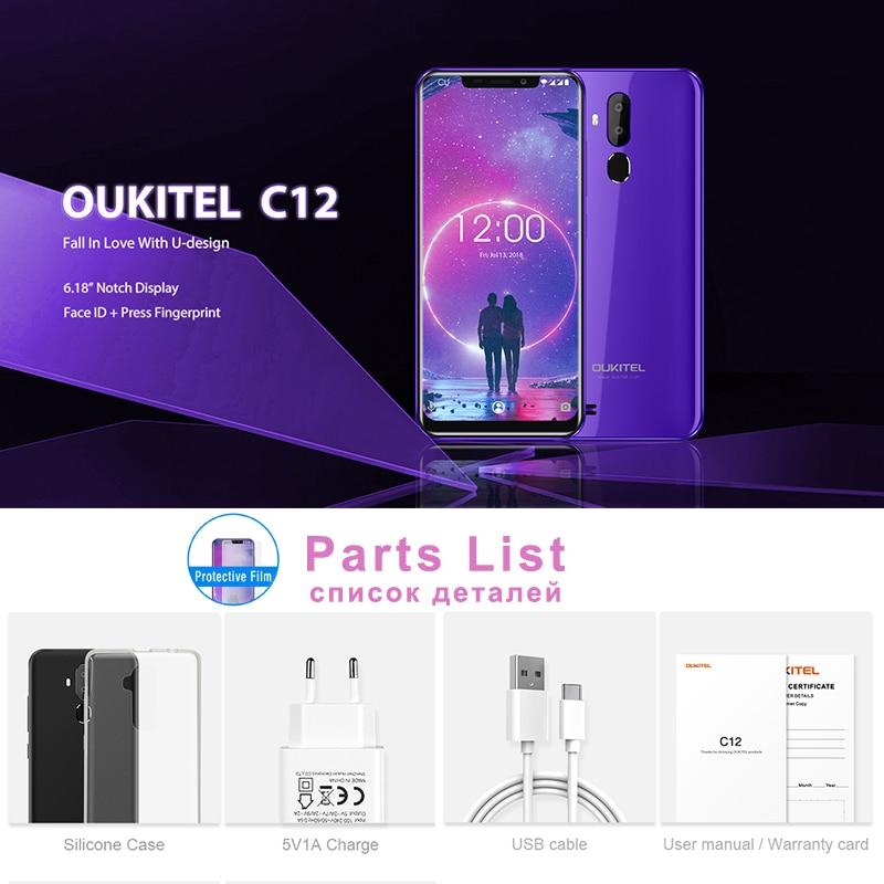 "OUKITEL C12 6.18"" Android 8.1 Mobile Phone MT6580 Quad Core 2G RAM 16G ROM Fingerprint 3G 3300m"