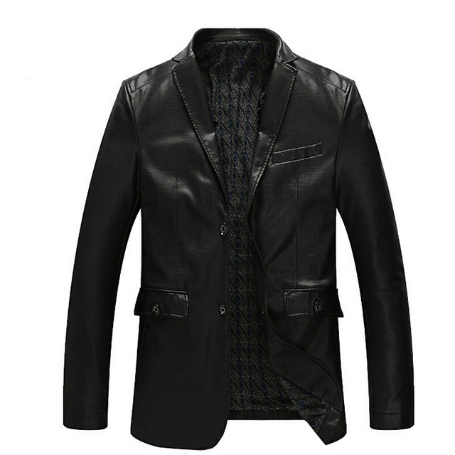 L-8XL!!!Fashion Plus Leather Jacket Men Spring And Autumn Clothing Outerwear Suit Collar Business Casual Leather Jacket For Man