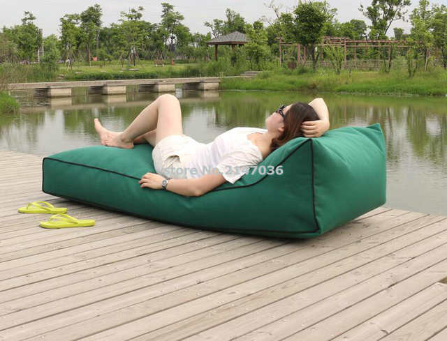Us 68 0 Long Beach Bean Bag Chair Waterproof Beanbag Sofa Seat Outdoor Comfortable Lounger Cover Only In Garden Sofas From Furniture On