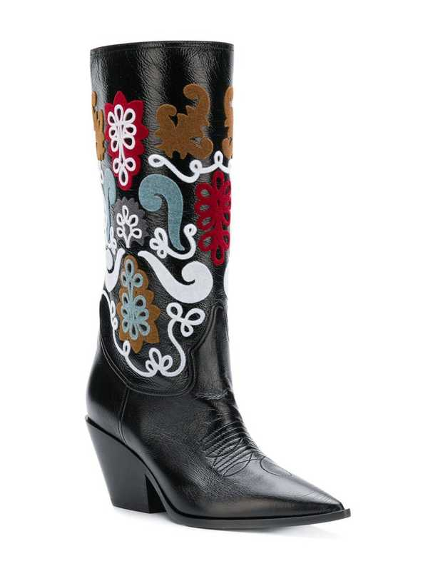 Luxury Design Shoes Women Flower Printed Knee High Boots Red Black Leather Slip On Party Autumn Winter Boot