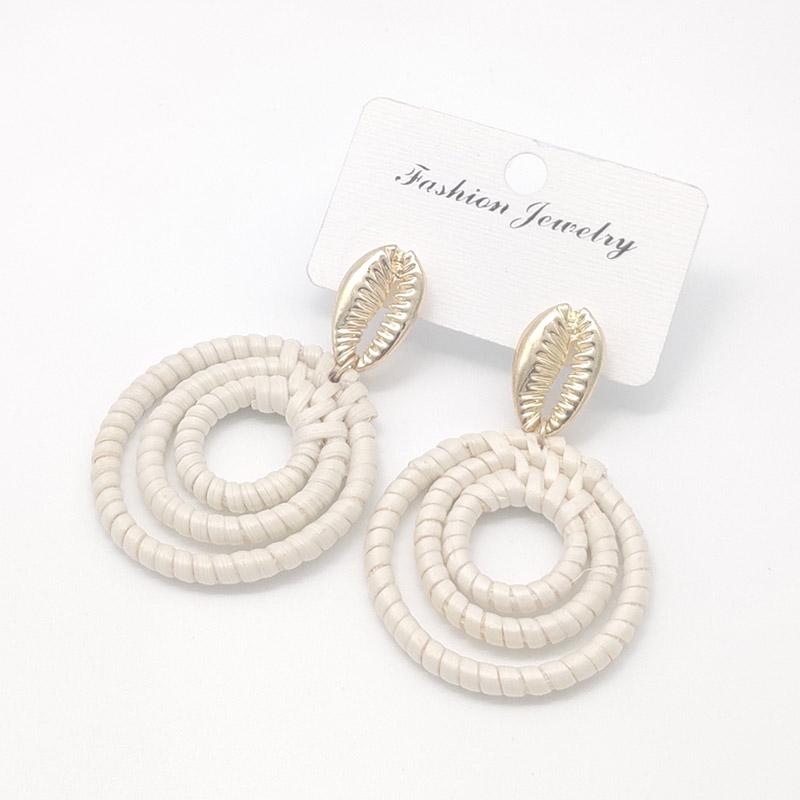Bohemian Wicker Rattan Knit Pendant Earrings Handmade Wood Vine Weave Geometry Round Statement Long Earrings for Women Jewelry 13