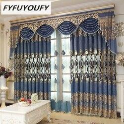 FYFUYOUFY europejskie luksusowe high shade haftowane zasłony do salonu klasyczne wysokiej jakości zasłony do sypialni Windows