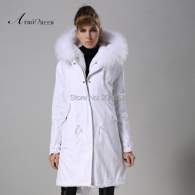 New Fashion Warm Women Slim Long canvas Jacket Fur Collar Parka white long coat with mrs fur lined Winter Coat Factory Price 2