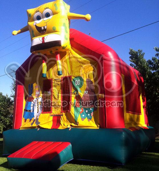 Bob esponja inflable castillo inflable con tobogán puente, feliz castillo hinchable