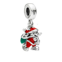 2018 Winter Santa Miki Mouse & Gift Bag Dangle Charm With Red Enamel Fits Pandora Bracelet Original 925 Sterling Silver Bead