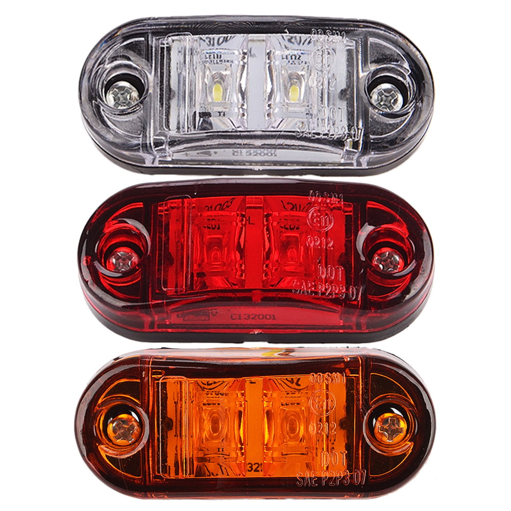Other 2 X 12V 2 LED SMD RED REAR SIDE MARKER LIGHT POSITION TRUCK TRAILER E-MARKED DOT