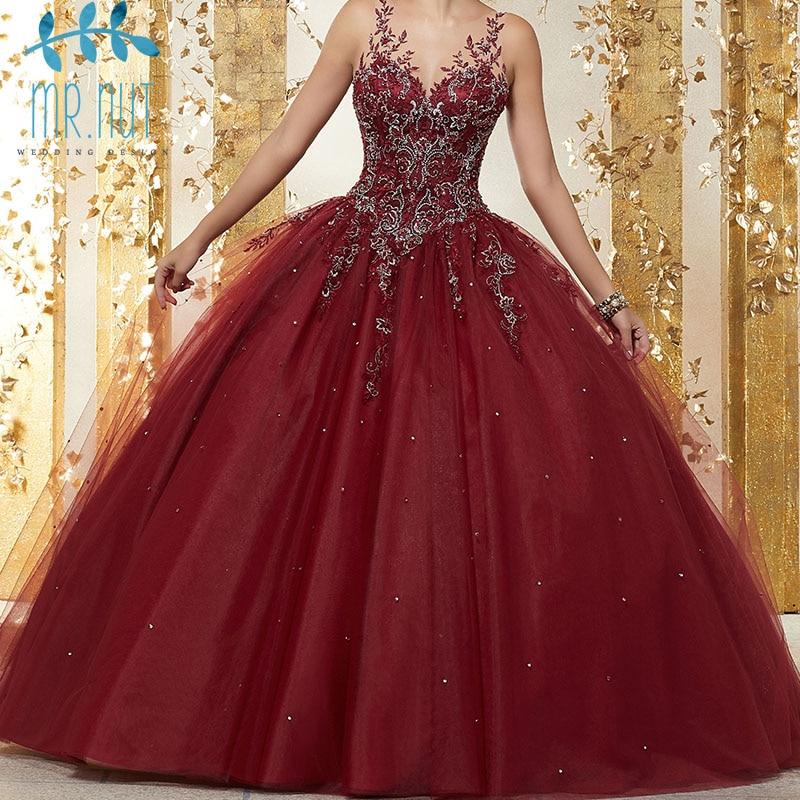 Red Quinceanera Dresses 2019 Beadings Crystal Tulle Dresses Debutante Sweetheart Neck Vestidos De 15 Anos