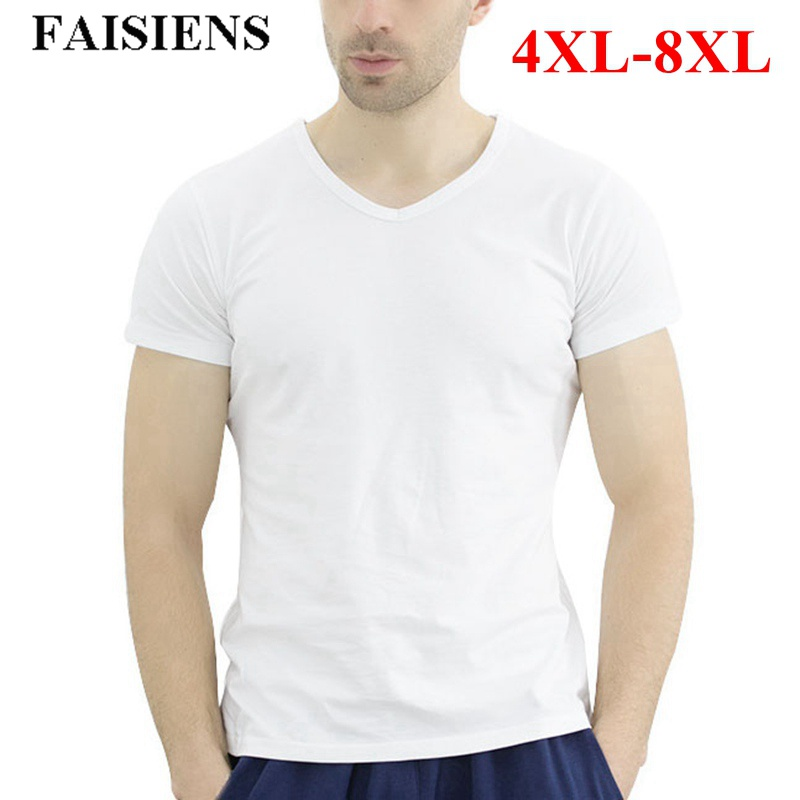 FAISIENS <font><b>8XL</b></font> Large Size Cotton <font><b>T</b></font>-<font><b>shirt</b></font> Men V Neck Short Sleeve White Gray Black Plus Big Size 5XL 6XL Slim Fit Men Tee <font><b>Shirt</b></font> image