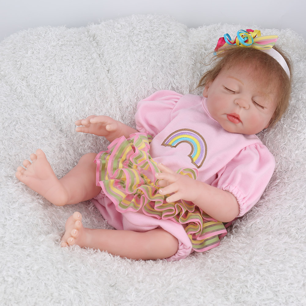 NPKDOLL 17 pouces 43 cm Silicone Reborn bébé poupées vivantes Bebes Reborn réaliste réaliste fille endormie cadeau d'anniversaire jouets - 4